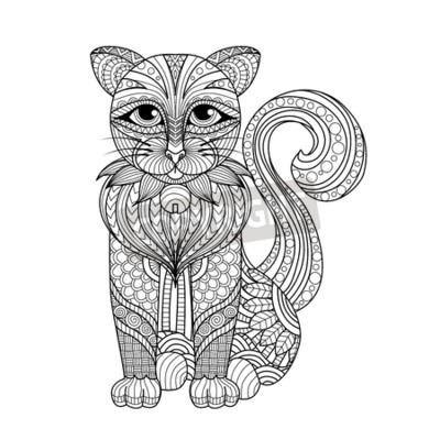 Zeichnung katze für färbung seite, shirt-design-effekt,, tattoo ...