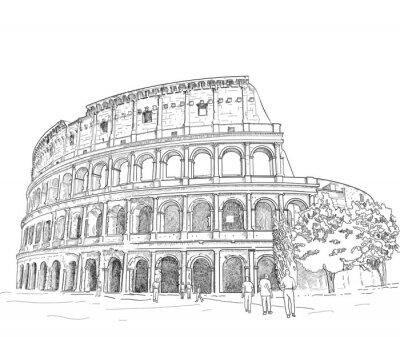 Sticker Zeichnung Römisches Kolosseum