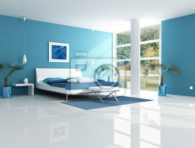 Zeitgenössische blau schlafzimmer notebook-sticker • wandsticker ...