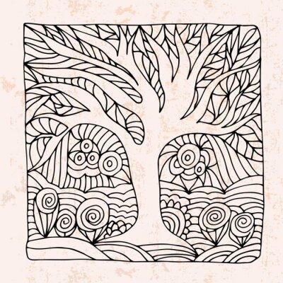 Sticker Zentangle mit Baum und Blumen