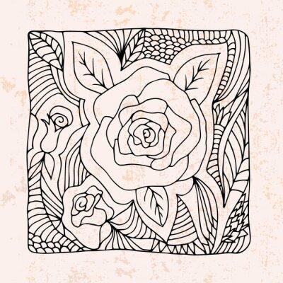 Sticker Zentangle mit Rosen und Blättern