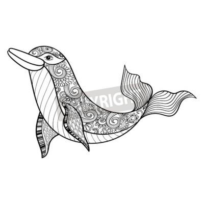 Zentangle vektor meer delphin für erwachsene anti-stress malvorlagen ...