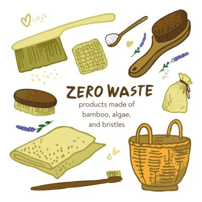 Zero waste products made of bamboo, algae, and bristles. Symbols of eco-friendly and conscious consumption. The concept of environmental protection and green thinking. Cartoon vector illustration.