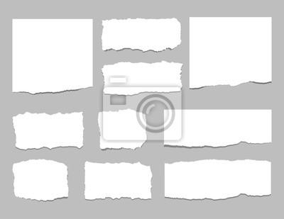Sticker Zerrissene Blätter Papier. Zerrissene Papierstreifen. Vektor-Illustration