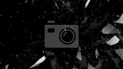 Sticker Zerstörtes Glas auf schwarzem Hintergrund