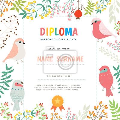 Zertifikat mit blumen und vogel. abbildung. notebook-sticker ...