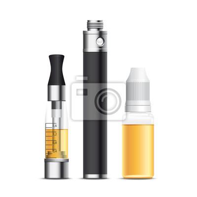 Zigarette électronique, E-Zigarette, E-liquide. Vecteur cmjn