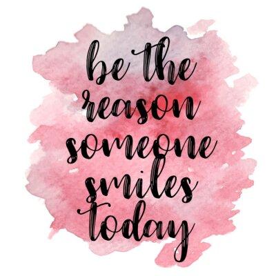 Sticker Zitat Sei der Grund, den jemand heute lächelt. Vektor-Illustration