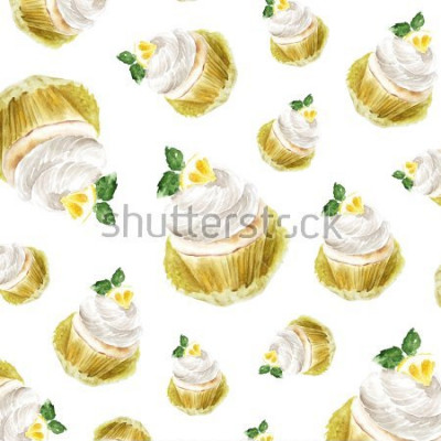 Sticker Zitronenkleiner kuchen mit Sahne Minze, Aquarellillustrations-Muffinnachtisch. Kunstdruck, Mode-Skizze. Bäckerei süße Kuchen Obst Zitrusfrüchten