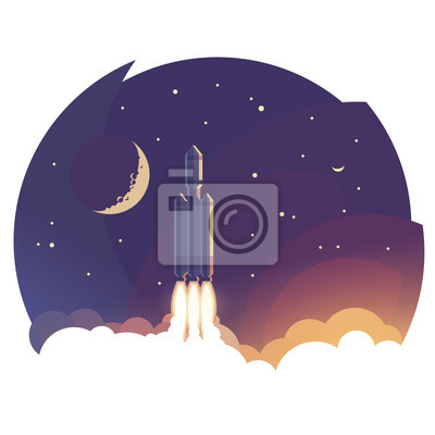 Zum Himmel. Illustration des Raketenstarts / Fliegens über Wolken. Vektor.