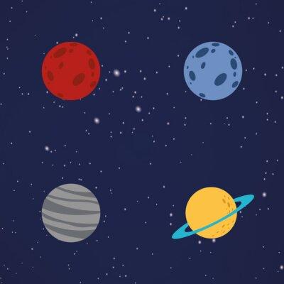 Sticker Zusammenfassung Cartoon Planeten