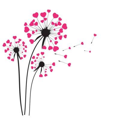 Sticker Zusammenfassung Dandelion Hintergrund Vektor-Illustration