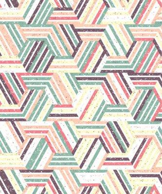 Sticker Zusammenfassung nahtlose Muster aus einer Vielzahl von Dreiecken und Streifen. Texturierter Hintergrund.