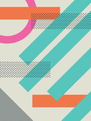 Sticker Zusammenfassung retro 80s Hintergrund mit geometrischen Formen und Muster. Materialentwurfstapete.