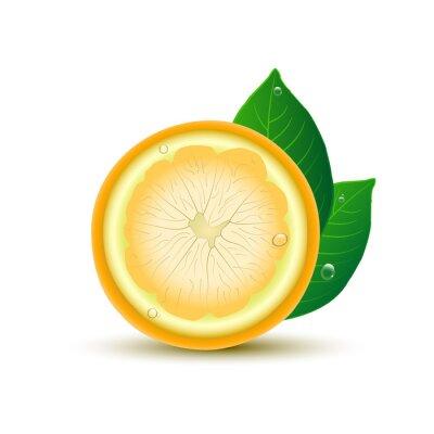 Sticker Zusammenfassung Zitrone mit Blättern und Tropfen auf weißem Hintergrund