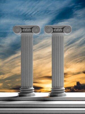 Sticker Zwei alte Säulen mit Sonnenuntergang Himmel Hintergrund.