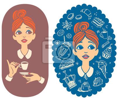 Zwei bunte Vintage-Porträts. Junge Frau trinkt Kaffee und weibliches Gesicht umgeben von Lebensmittel Gekritzel.
