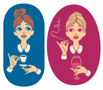Zwei bunte Vintage-Porträts - junge rothaarige Frau trinken Kaffee und blonde Dame trinken Wein und Rauchen