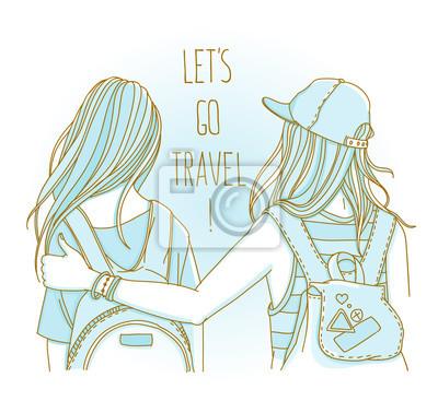 """Zwei Freunde reisen zusammen - Rückansicht, mit Worten """"Let's Go Travel"""""""