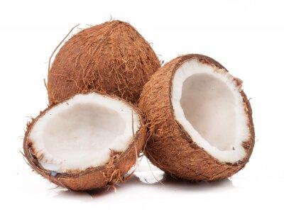 Sticker Zwei Kokos von denen geteilt isoliert
