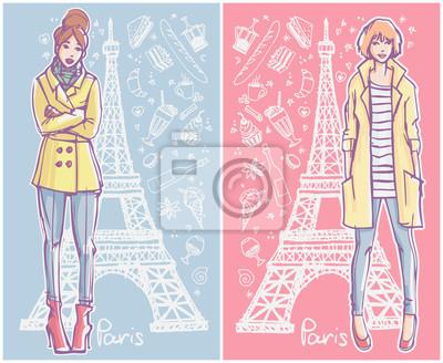 Zwei Mode Illustration Karten. Junge Frauen im Winter / Herbst / Frühling Saison Kleidung stehend mit Eiffelturm und Café Doodles auf dem Hintergrund.